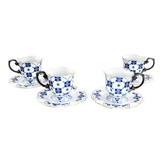 Bombay Company Cobalt Blue White Summerhill Quilt Tea Cups & Saucers - Set of 4 For Sale