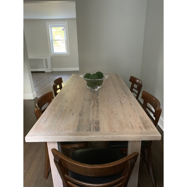 Wood European Style Modern Farmhouse Reclaimed Wood Dining Table or XL Desk For Sale - Image 7 of 12