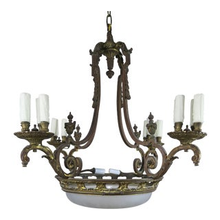 French Bronze & Etched Glass Sixteen Light Chandelier C. 1930's For Sale