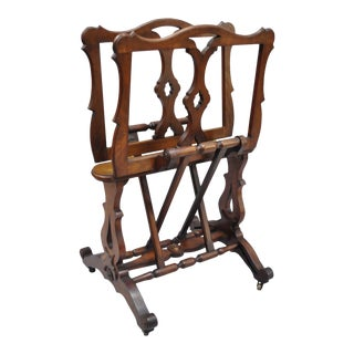 Antique English Victorian Carved Walnut Adjustable Stand