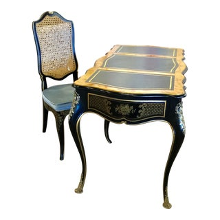 Chinoiserie Drexel Black Lacquer Desk and Chair - 2 Pieces For Sale