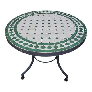 White / Green Moroccan Mosaic Table For Sale