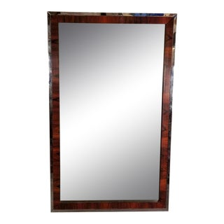1970s Mid-Century Modern Rosewood and Chrome Wall Mirror For Sale
