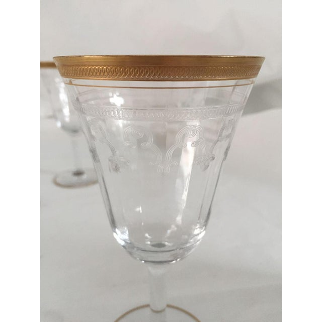 Traditional Vintage Gold Rim Etched Wine Glasses - Set of 10 For Sale - Image 3 of 7