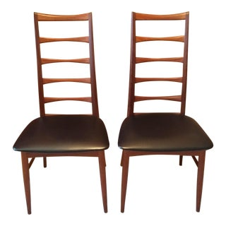 Mid Century Danish Modern Teak Ladder Back Chairs - a Pair For Sale