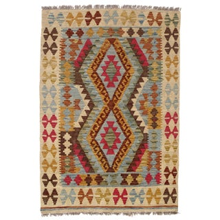 Afghan Kilim Handspun Wool - 3′4″ × 4′10″ For Sale