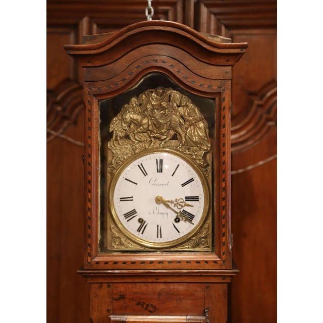 Late 18th Century French Louis XV Carved Burl Walnut Tall Case Clock From Lyon For Sale - Image 4 of 13