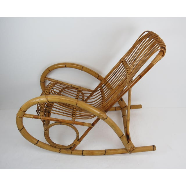 Vintage Franco Albini Style Bamboo Rocking Chair For Sale In Chicago - Image 6 of 13