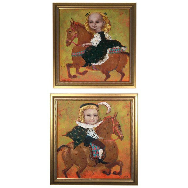 1990s Vintage Russian Whimsical Paintings by Elena Kallistova- A Pair For Sale - Image 13 of 13