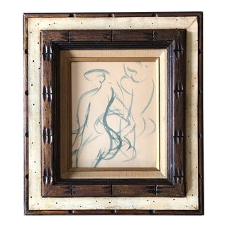 Original Vintage Abstract Double Figure Nude Watercolor Painting Ornate Frame For Sale
