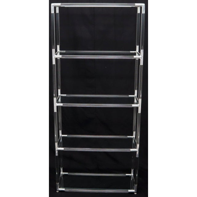 Metal Lucite and Aluminum Mid-Century Modern 5-Tier Etagere Vitrine Shelving Unit For Sale - Image 7 of 13