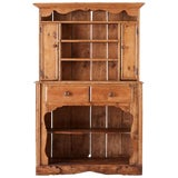 Image of 19th Century English Pine Cupboard Dresser With Rack For Sale