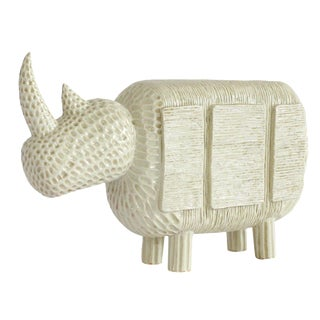 Modern Primitive Porcelain Rhino For Sale