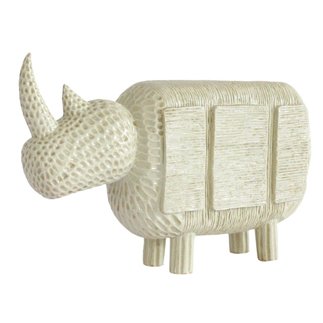Modern Primitive Porcelain Rhino For Sale
