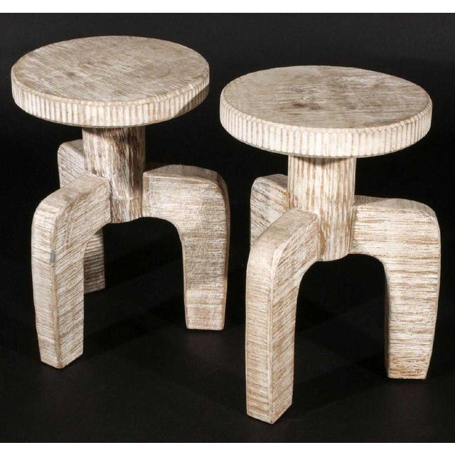 African Inspired Tribal Cerused Stools - a Pair For Sale - Image 4 of 6