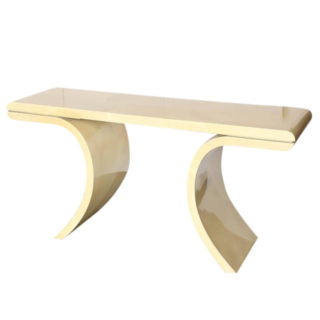 Mid Century Modern Lacquered Goat Skin Console Table in the Manner of Karl Springer - Image 1 of 10