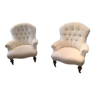 White Tufted Armchairs - A Pair