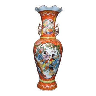 Chinese Hand Painted Porcelain Vase With Handles For Sale