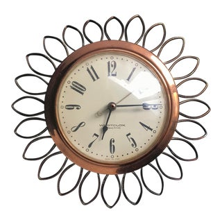 Mid-Century Modern Wall Clock Brass With Starburst Trim For Sale