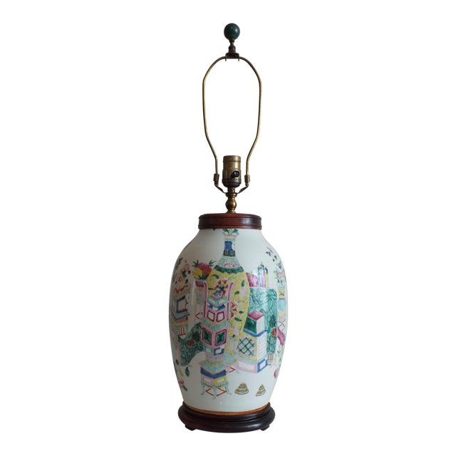 Antique Asian Famille Rose Lamp - Image 1 of 11