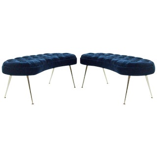 Tufted Benches in Deep Blue Mohair (Pair Available) For Sale