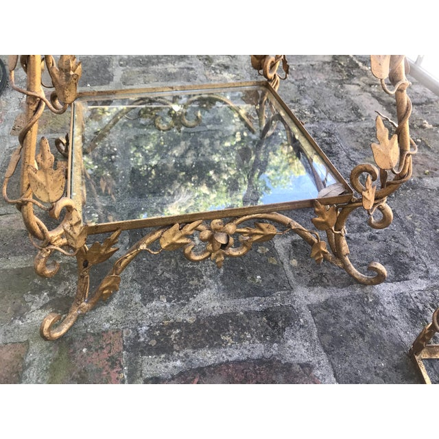 Gold 1940's French Provincial Style Italian Gold Gilt Vine Four Shelf Etagere For Sale - Image 8 of 12
