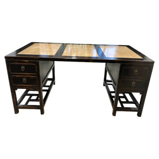 Asian Style Black Lacquered Partner Desk With Stone Inserts For Sale