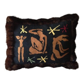 Mink Trimmed Matisse Needlepoint Pillow For Sale