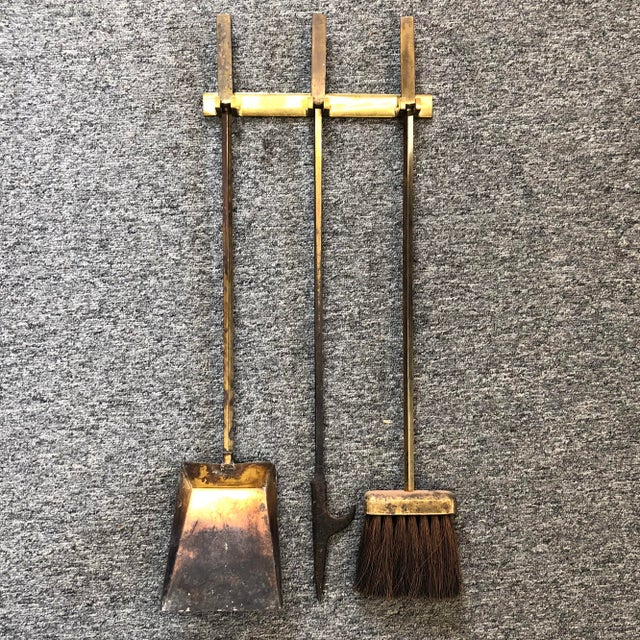 Hanging Brass Modernist Fire Tools For Sale In Richmond - Image 6 of 6