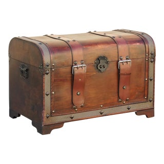 Vintage Wood Trunk With Leather Straps For Sale