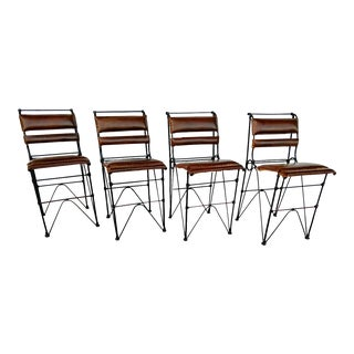 Ilana Goor Styled, Industrial Iron Counter Stools, With Leather Seats - Set of 4 For Sale