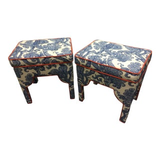 Upholstered Waverly Fabric Blue Ottomans - a Pair