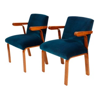 Mid-Century Curated Lounge Chairs With Royal Blue Velvet- a Pair For Sale