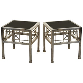 1970s Campaign Metal and Black Glass Side Tables - a Pair For Sale