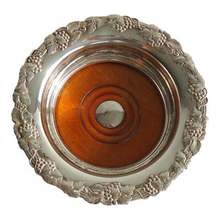 Antique Silver & Wood Wine Coaster For Sale