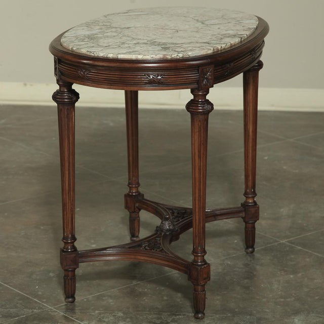 White 19th Century French Louis XVI Marble Top Oval End Table For Sale - Image 8 of 12