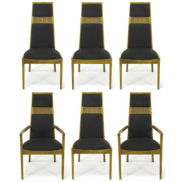 Set of six light ash wood dining chairs with striped dark brown silk blend upholstery by Kroehler. Set includes two...