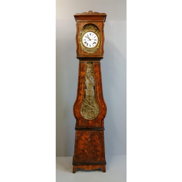 Exquisite antique 19th Century French calendar grandfather (comtoise) clock from the Morbier region. Casework is...