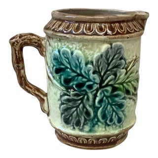 Antique French Majolica Oak Leaves Pitcher Circa 1880 For Sale
