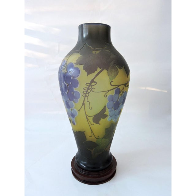 Pretty reproduction 'Galle' style glass vase with signature. One of the most famous French glass makers of the 19th C....