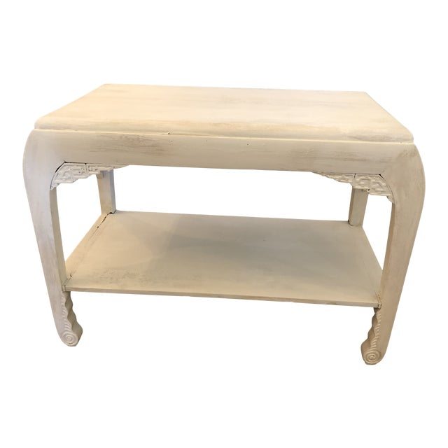Chinese Whitewashed Painted Rectangular Low Side Table For Sale