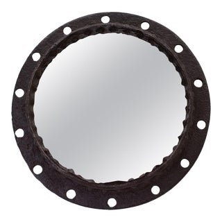 Industrial Brutalist Wrought Iron Porthole Mirror For Sale