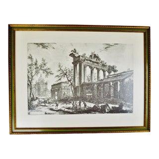 Giovanni Battista Piranesi Framed Etching Altra Veduta Degli Avanzi Del Pronao Del Tempio Della Concordia For Sale