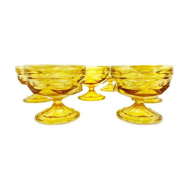 Mid-Century Modern Mid-Century Imperial Glass Amber Glass Goblets - Set of 7 For Sale - Image 3 of 4