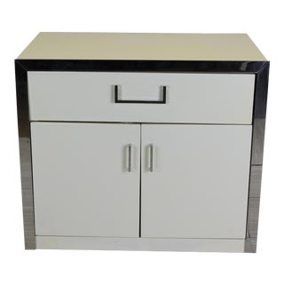 Mid Century White Lacquered Nightstand