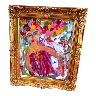 """""""Abstract Lady"""" Contemporary Portrait Painting by Ebony Boyd, Framed For Sale"""