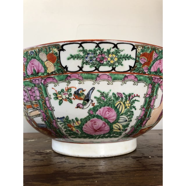 Ceramic Antique Chinese Rose Medallion Punch Bowl For Sale - Image 7 of 9