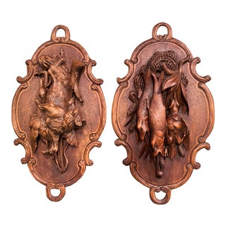 Pair of 19th Century Swiss Black Forest Carved Walnut Hunt Trophies Sculptures For Sale