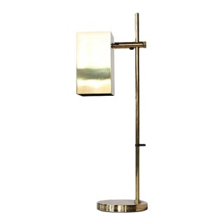 Mid-Century Koch & Lowy Cube Brass Table Lamp For Sale
