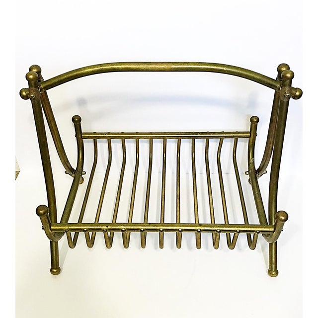 Mid-Century Modern Vintage Brass Magazine Rack For Sale - Image 3 of 8